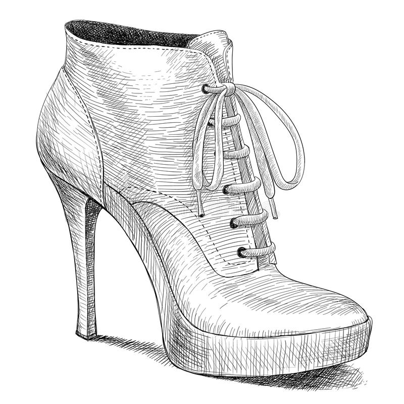 Vector drawing in vintage style of woman shoes. Vector drawing of woman fashion high heel shoes boots in ink engraving vintage style stock illustration