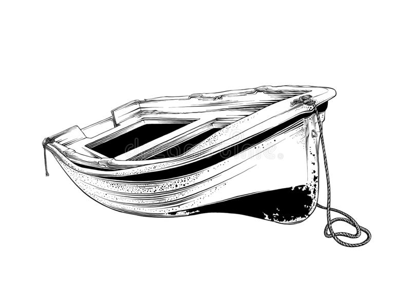 Vector drawing of wooden boat in black color, isolated on white background. Graphic illustration, hand drawing. Drawing. For posters, decoration and print royalty free illustration