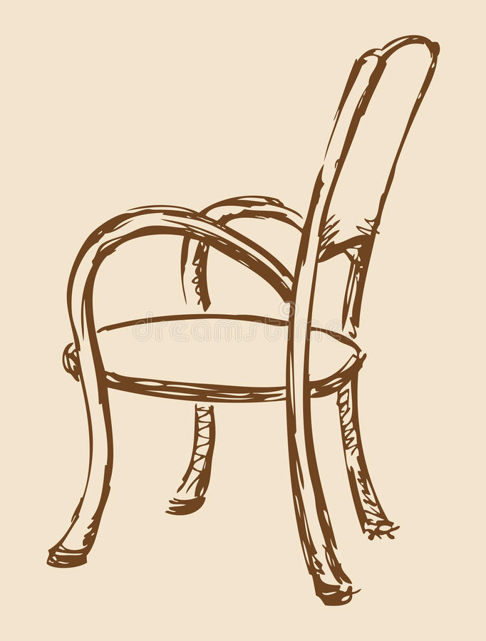 Vector Drawing Wooden Chair With Armrests Stock Vector Image