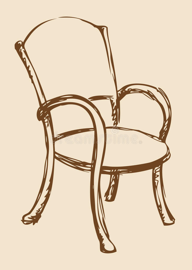 Vector Drawing Wooden Chair With Armrests Stock Illustration