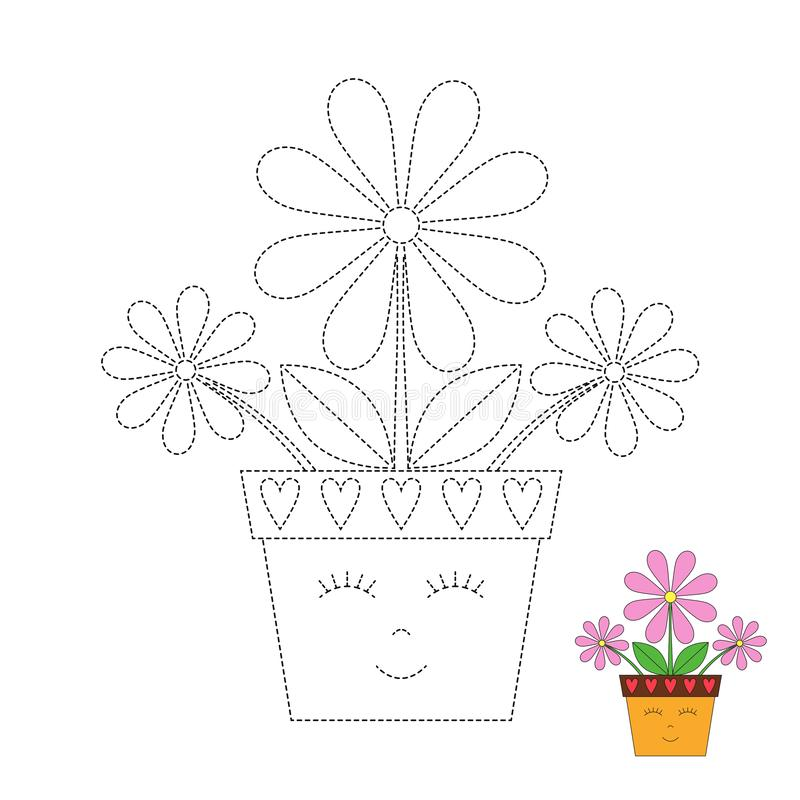 Simple educational game with funny flowerpot for toddlers. Vector drawing worksheet for preschool kids with easy gaming level of difficulty. Simple educational royalty free illustration