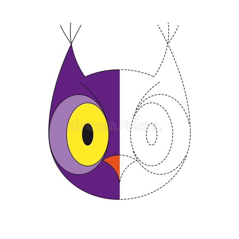 Illustration of owl for toddlers. Vector drawing worksheet for preschool kids with easy gaming level of difficulty. Simple educational game for kids stock illustration