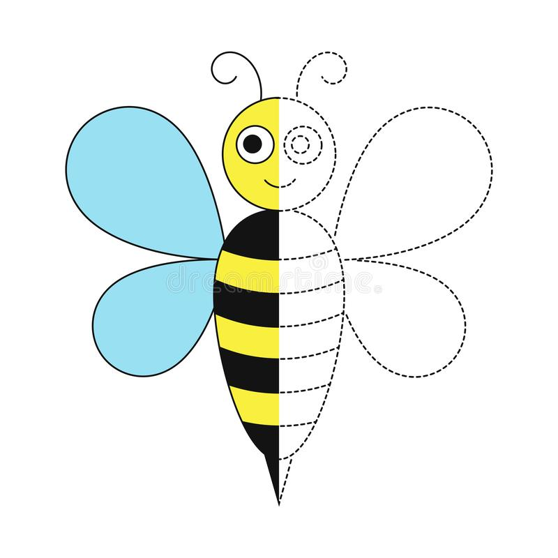 Illustration of bee for toddlers. Vector drawing worksheet for preschool kids with easy gaming level of difficulty. Simple educational game for kids royalty free illustration