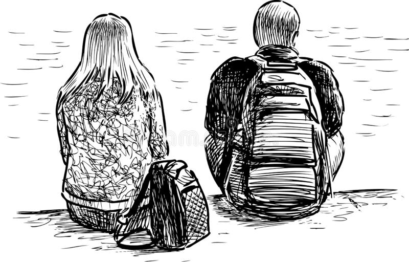 A couple of young people sitting on the river bank royalty free illustration