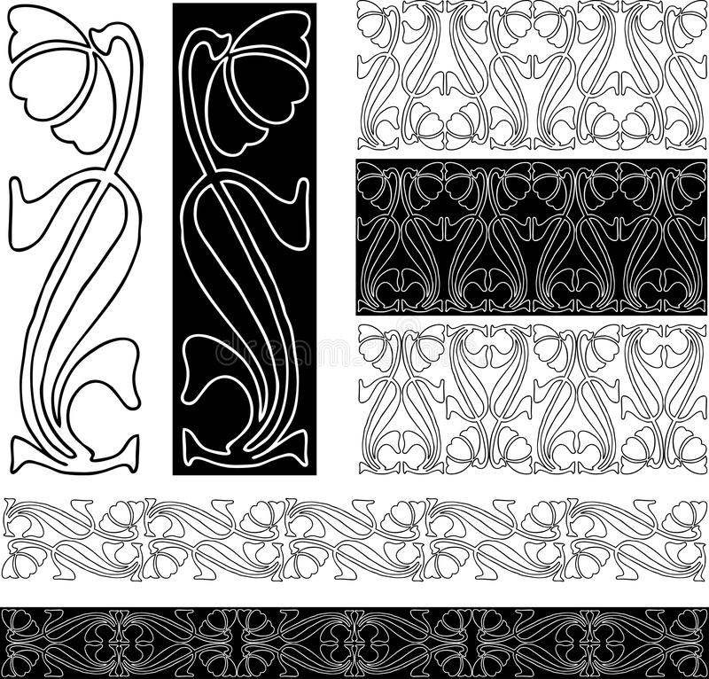 Vector drawings of decorative floral borders from vintage stylized flower royalty free illustration