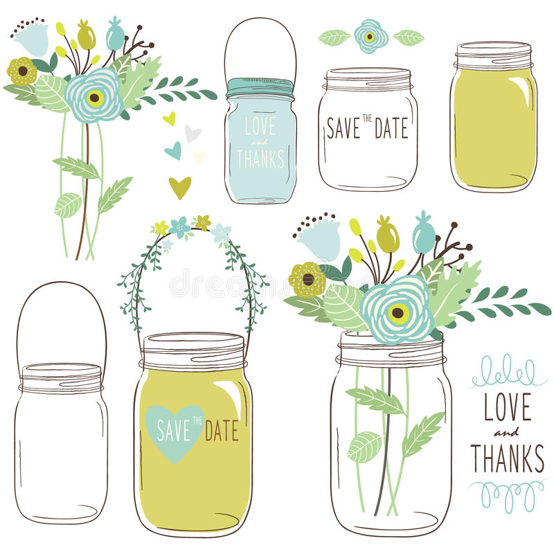 Vector drawings of wedding jars and flowers. A Vector Illustration of Vector drawings of wedding jars and flowers vector illustration