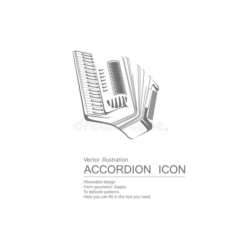 Vector drawn accordion. Isolated on white background royalty free illustration
