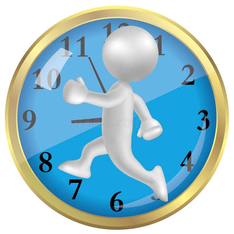 Vector drawn running man symbol,Race against the clock, image uses a grid gradient. vector illustration