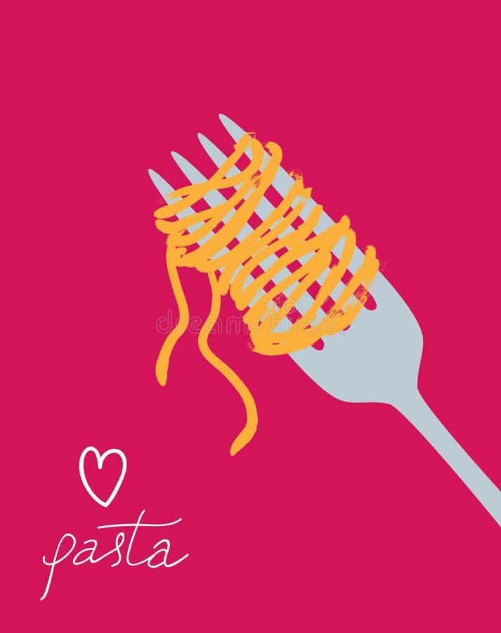 Vector drawn spaghetti on the fork stock illustration