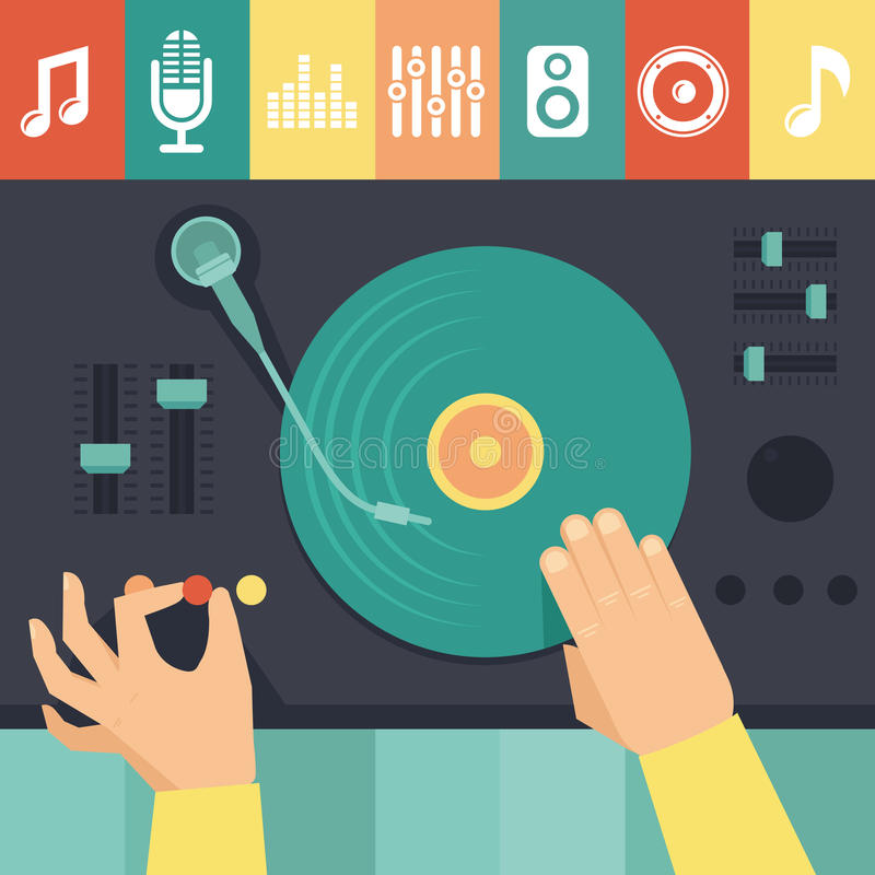 Vector Drehscheibe und DJ-Hände - Musikkonzept lizenzfreie abbildung