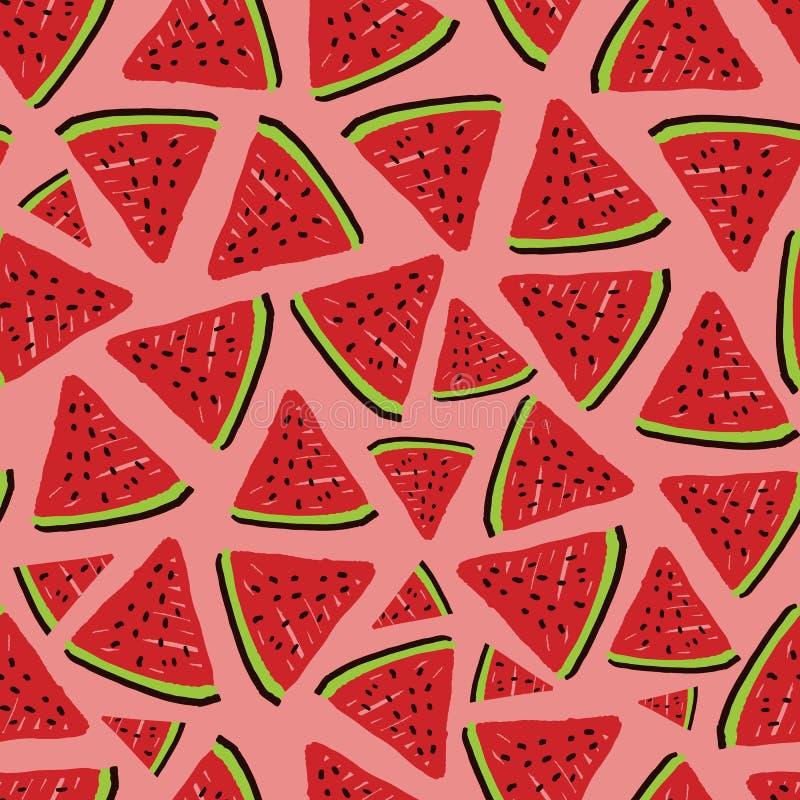 Vector driehoek rode watermeloen naadloos patroon Ideaal voor stof-, scrapbooking- en behangselprojecten vector illustratie