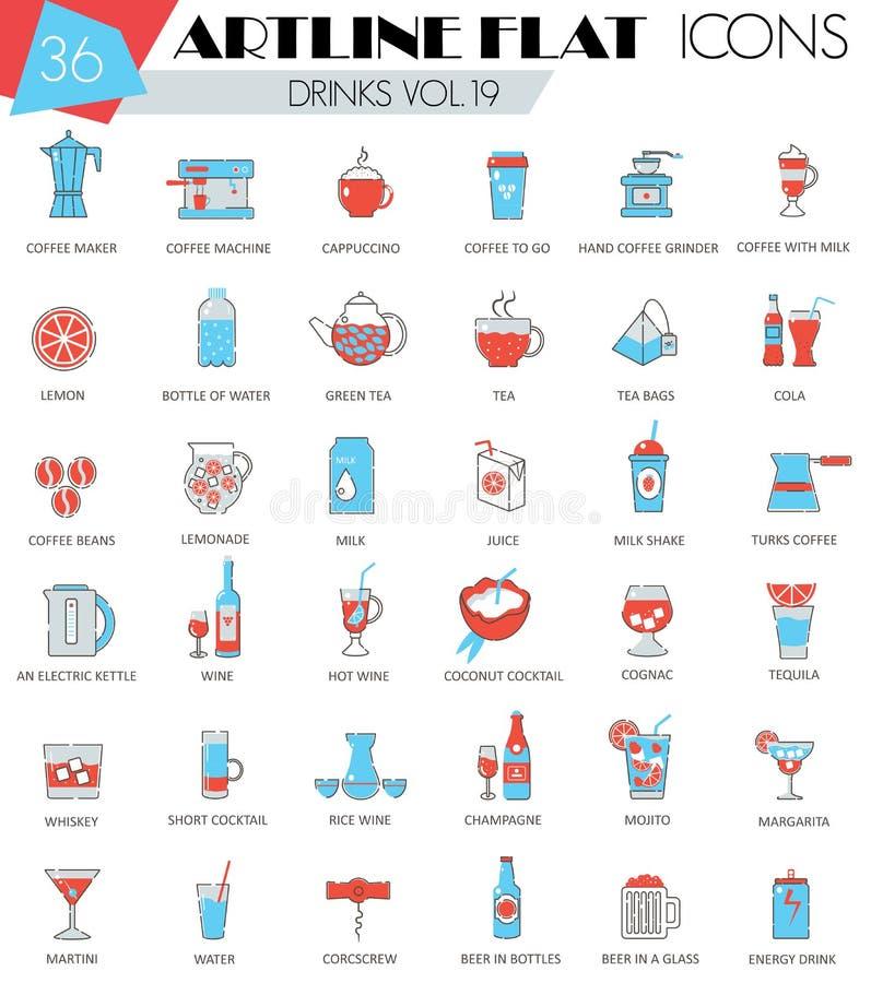 Vector Drinks ultra modern outline artline flat line icons for web and apps. stock illustration