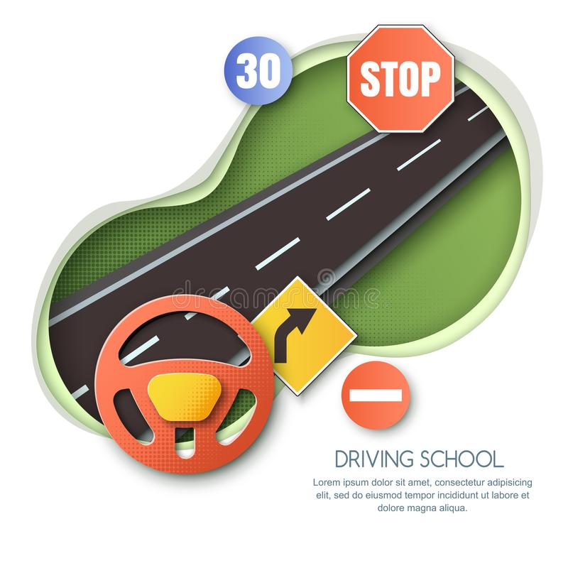 Vector driving school concept. Road, car steering wheel, traffic signs paper cut style isolated illustration. stock illustration