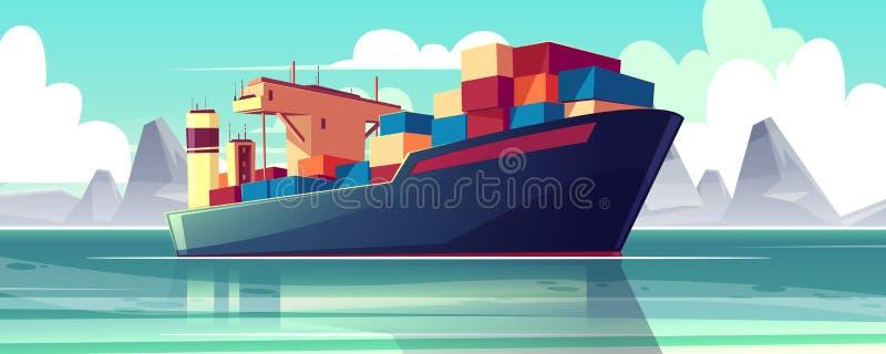 Vector dry-cargo ship at sea, loaded boat stock illustration