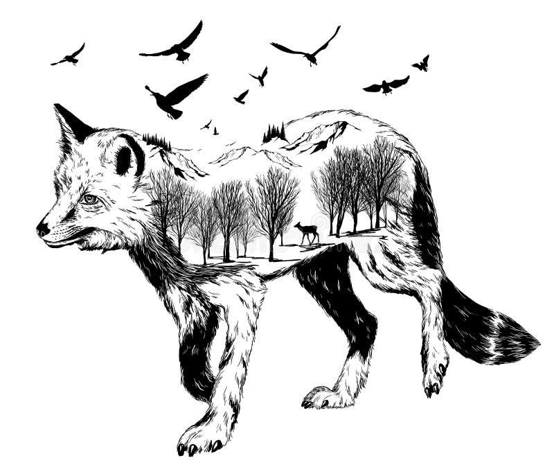 Vector Dubbele blootstelling, silhouet van vos stock illustratie