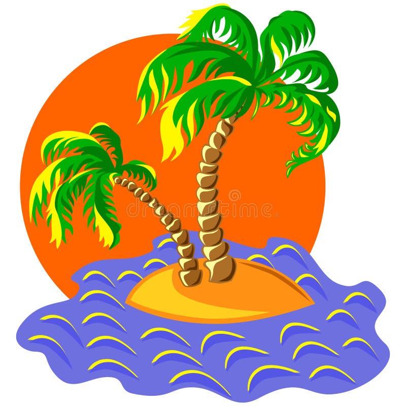 vector due palme su un'isola al tramonto illustrazione vettoriale