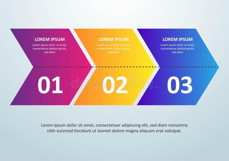 Vector dun de lijnontwerp van Infographic met pictogrammen en 3 opties of stappen Infographics voor bedrijfsconcept kan worden ge stock illustratie