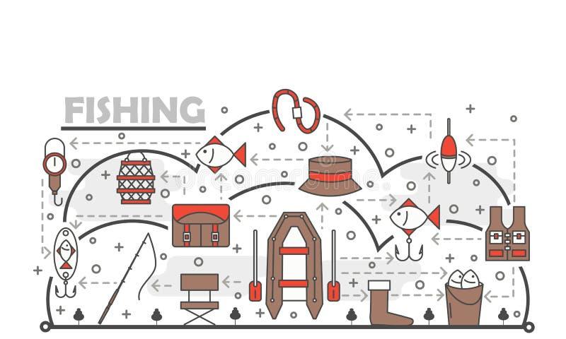 Vector dun lijnkunst de bannermalplaatje van de visserijaffiche royalty-vrije illustratie
