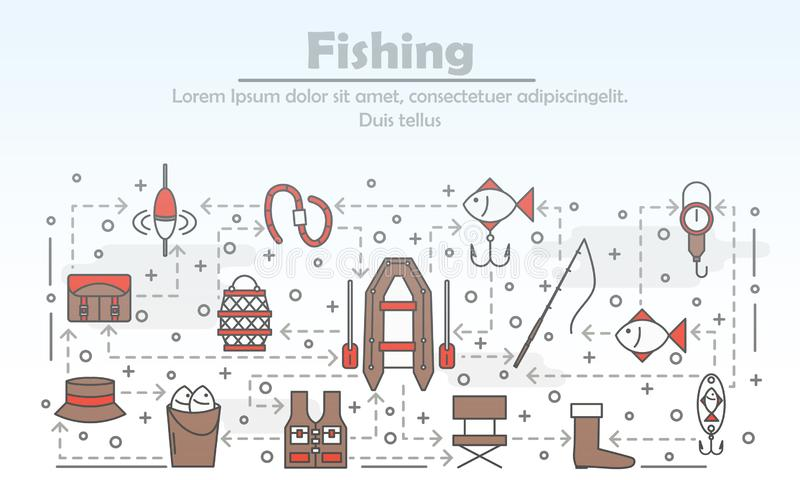 Vector dun lijnkunst de bannermalplaatje van de visserijaffiche vector illustratie