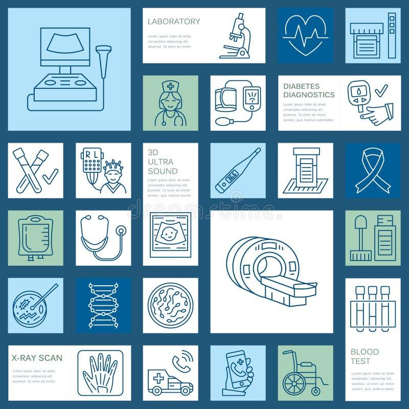 Vector dun lijnpictogram van medische apparatuur, onderzoek gezondheidscontrole, testelementen - MRI, röntgenstraal, glucometer,  royalty-vrije illustratie