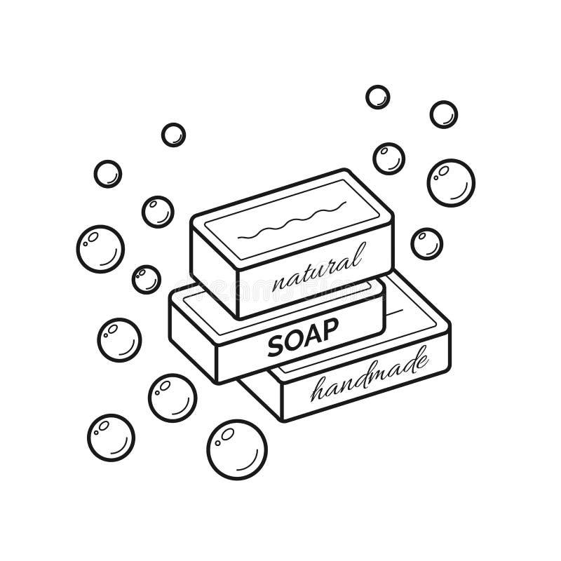 Vector dun lijnpictogram van natuurlijke organische met de hand gemaakte zeep stock illustratie