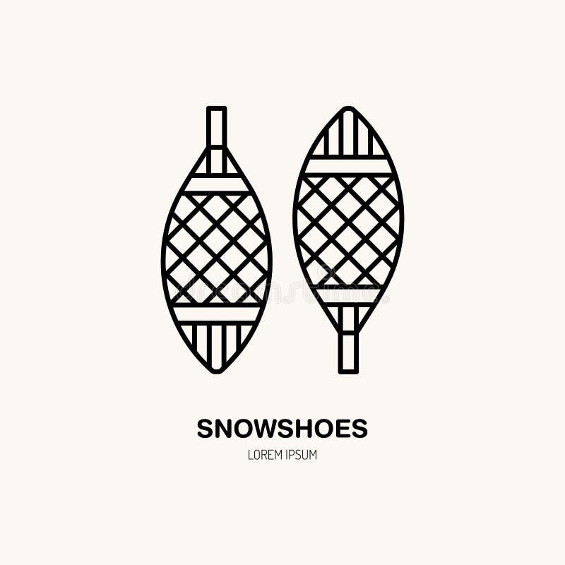 Vector dun lijnpictogram van sneeuwschoenen Het embleem van de het materiaalhuur van de de winterrecreatie Overzichtssymbool van  stock illustratie