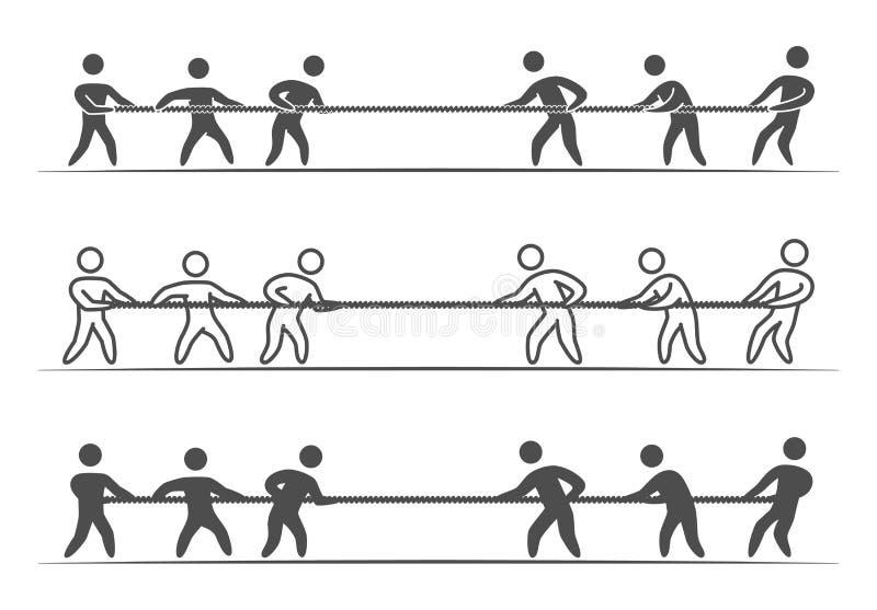 Vector dun lineair touwtrekwedstrijdembleem en pictogram royalty-vrije illustratie