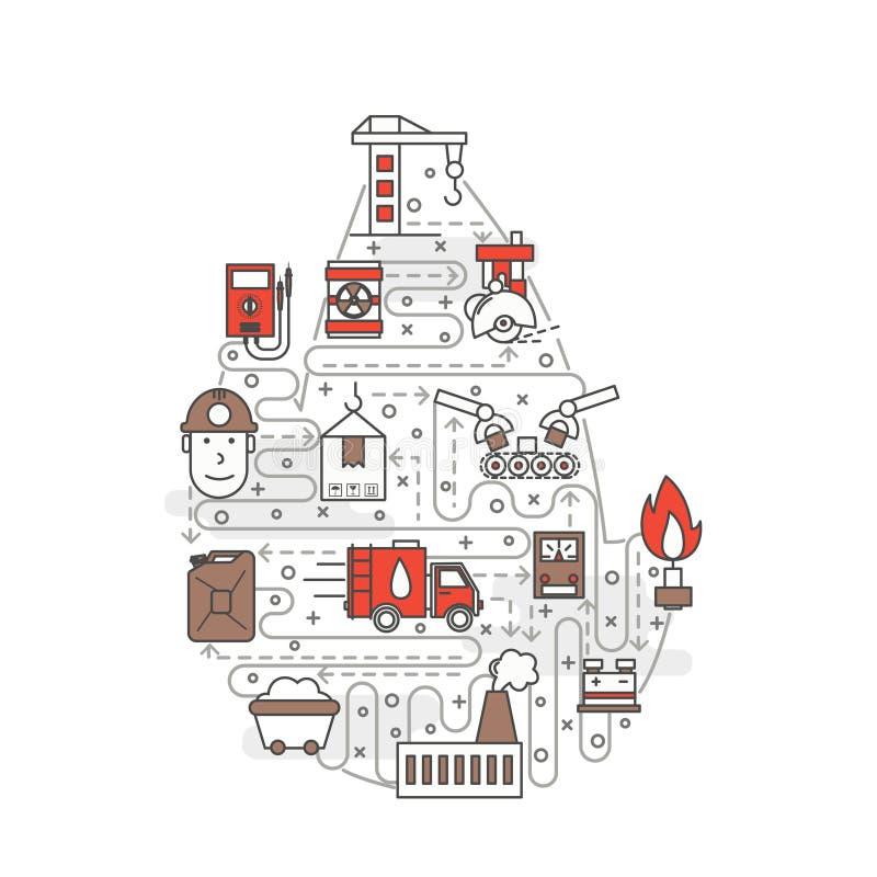 Vector dun van de de productieaffiche van de lijnkunst de bannermalplaatje royalty-vrije illustratie