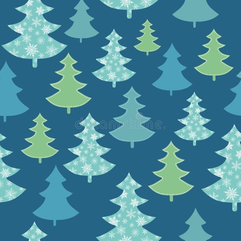 Vector dunkelblaues, grünes zerstreutes nahtloses Muster des Weihnachtsbaum-Winterurlaubs Groß für Gewebe, Tapete vektor abbildung