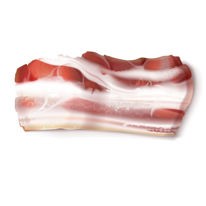 Vector dunne baconstrook, vettige plak van varkensvleesvlees royalty-vrije illustratie