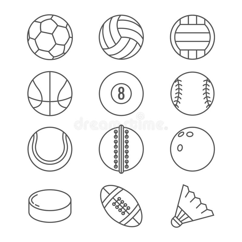 Vector dunne de lijnpictogrammen van sportenballen Basketbal, voetbal, tennis, voetbal, honkbal, kegelen, golf, volleyball royalty-vrije illustratie