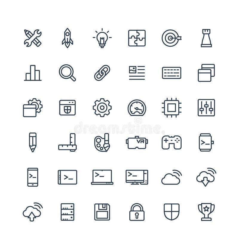 Vector dunne die lijnpictogrammen met de digitale symbolen van het ontwikkelingsoverzicht worden geplaatst royalty-vrije illustratie