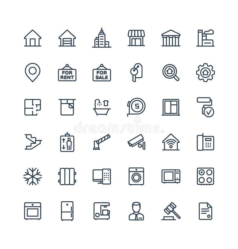 Vector dunne die lijnpictogrammen met de symbolen van het onroerende goederenoverzicht worden geplaatst royalty-vrije illustratie