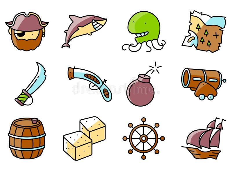 Vector dunne en eenvoudige geplaatste piraat en misdadige pictogrammen vector illustratie