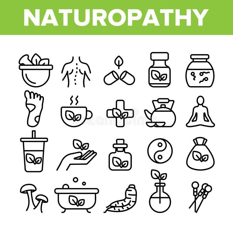 Vector Dunne Geplaatste de Lijnpictogrammen van de Naturopathytherapie vector illustratie