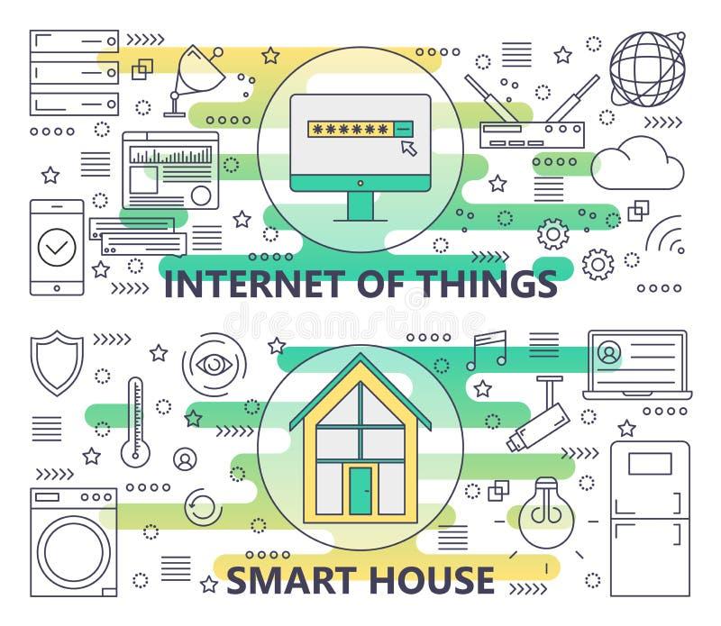 Vector dunne lijn Internet van dingen en Slimme Huisbanners stock illustratie
