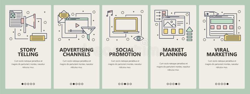 Vector dunne lijn vlakke ontwerp digitale marketing concepten verticale banners royalty-vrije illustratie