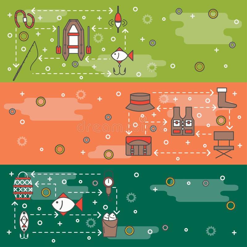 Vector dunne lijnkunst de bannersjabloonset van het visserijweb stock illustratie