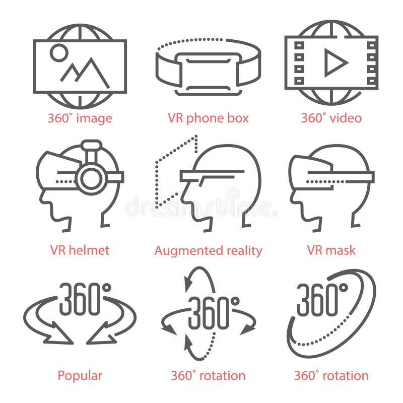 Vector dunne lijnpictogrammen die met de Pictogrammen van de 360 Gradenmening, virtuele werkelijkheidsmateriaal en toebehoren voo royalty-vrije illustratie
