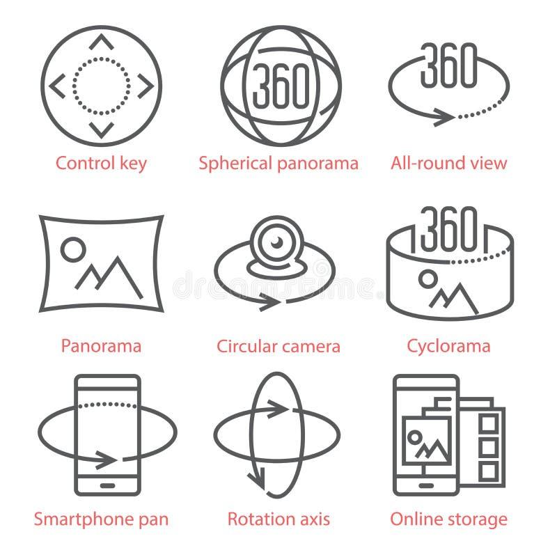 Vector dunne lijnpictogrammen die met 360 Graadmening en, Panoramahulpmiddelen en toepassingen worden geplaatst vector illustratie