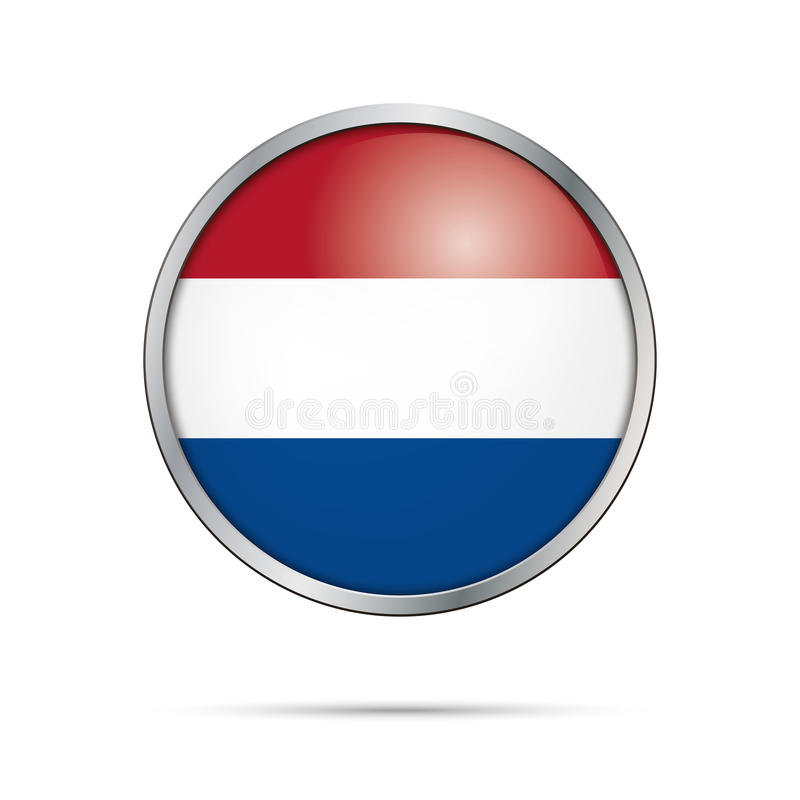 Vector Dutch flag Button. Netherlands flag in glass button style vector illustration