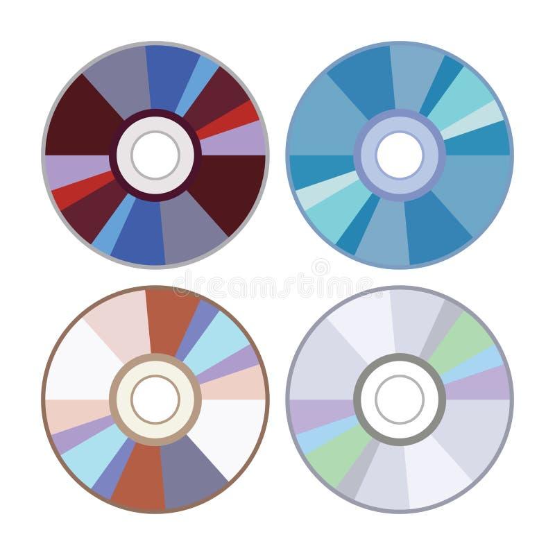 Vector dvd of CD-schijfpictogrammen vector illustratie