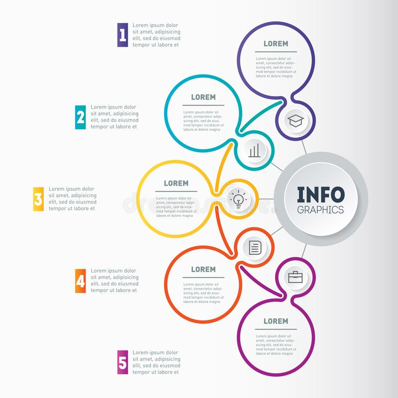 Vector dynamic infographics or mind map of technology or education process. Web Template of a chart, mindmap or diagram with five. Steps. Infographic or stock illustration