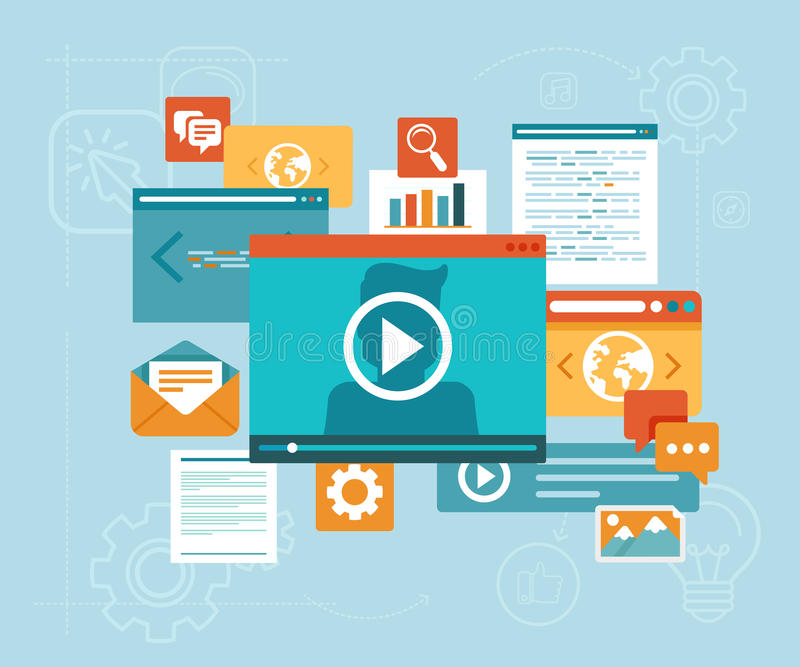 Vector e-learning concept. In flat style - digital content and online webinar icons vector illustration