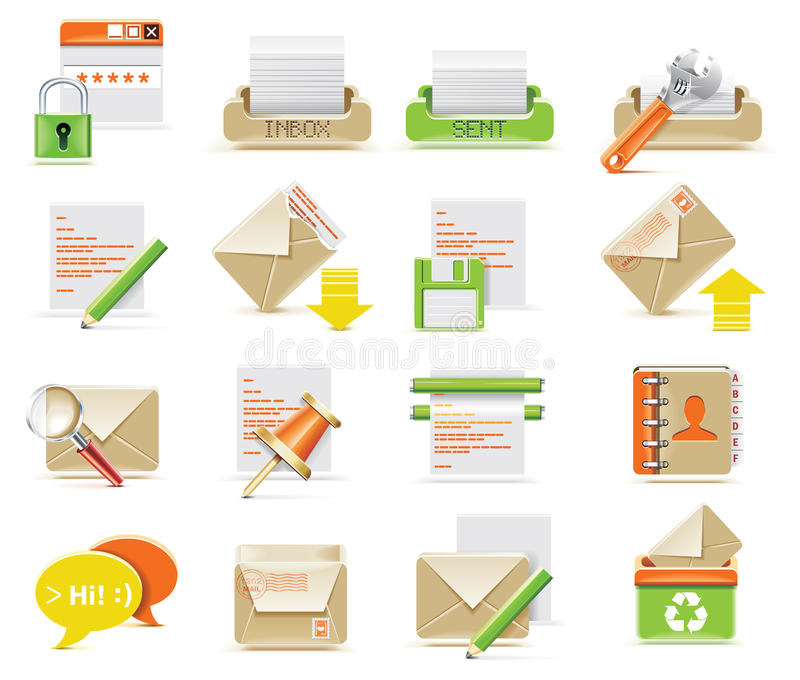 Vector e-mail icon set royalty free illustration