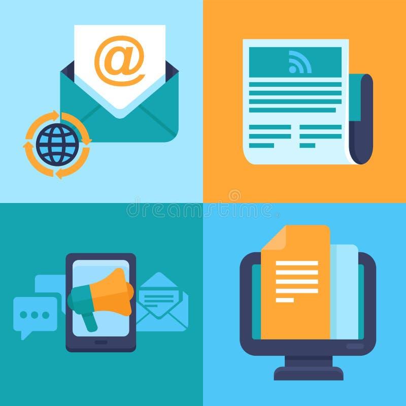 Vector e-mail marketing concepten - vlakke pictogrammen royalty-vrije illustratie