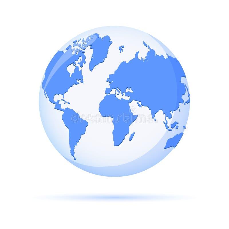 Vector earth globe illustration, planet symbol. Modern minimalistic world map icon. Planet Earth icon for web vector illustration