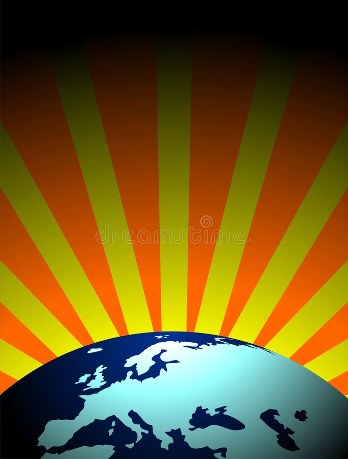 Vector earth illustration. With shine background royalty free illustration