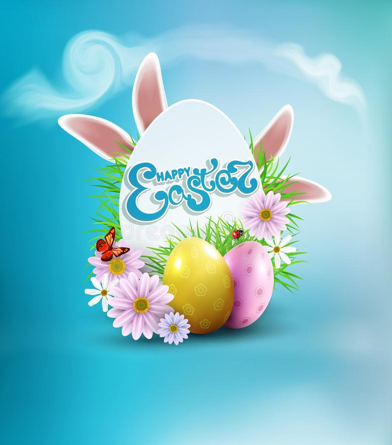 Vector Easter background with colored eggs, bunny ears, flowers, ladybug, and butterfly and text, in card egg-like vector illustration