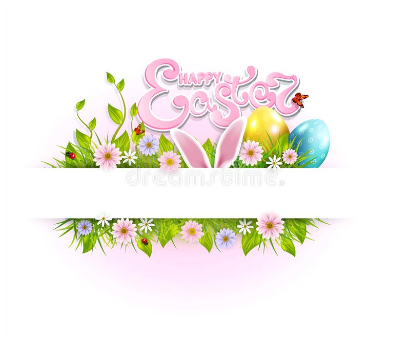 Vector Easter background with colored eggs, bunny ears, flowers, ladybug, and butterfly and text. Template for a holiday royalty free illustration
